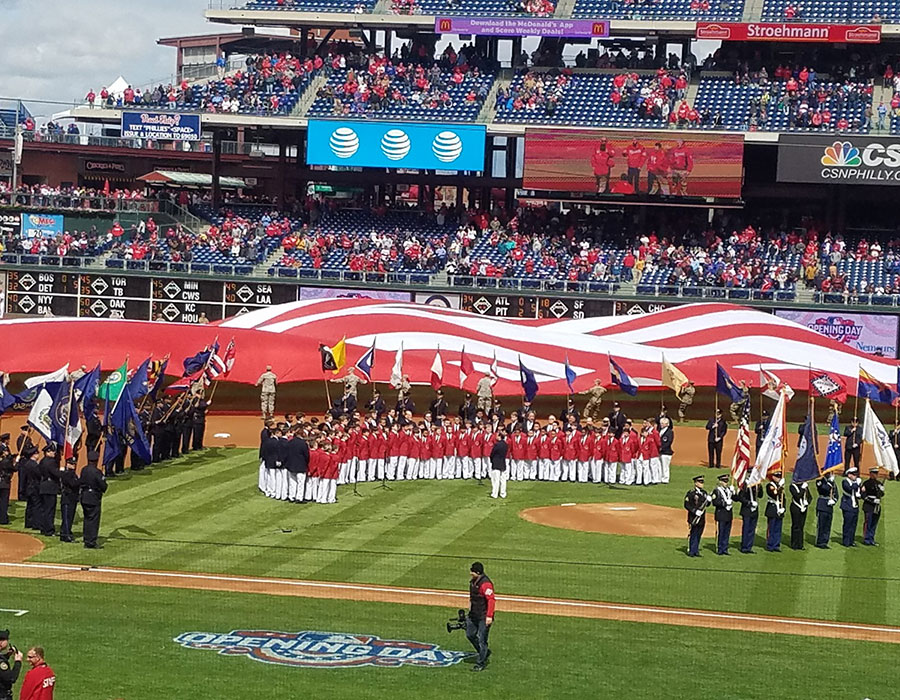 Singing Opening Day at the Philadelphia Phillies